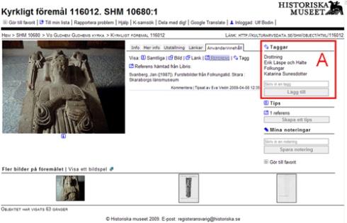 Du kan själv tagga objekt i Historiska museets databas